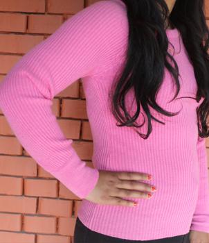 Round Neck Ladies Rib Sweater