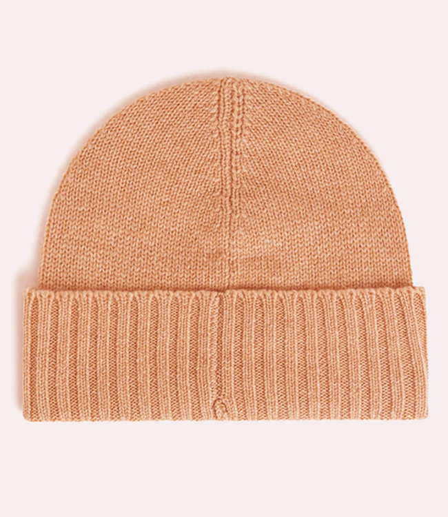 Cashmere Beanie hat in plain with RIB fold