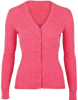 V-Neck Ladies Rib Cardigan
