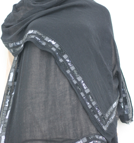 Bottom Sequence and Beads Embroidery Shawls in black color