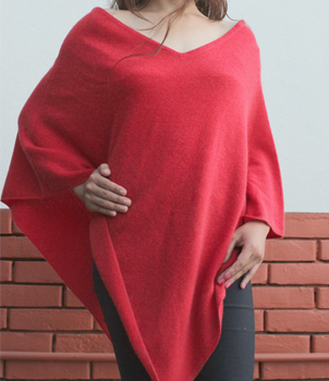 100% Cashmere Poncho in Front-Back Side V Neck