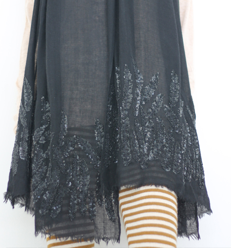 Bottom Sequence Embroidery Shawls in black color