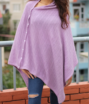 Cable Knit Cashmere Poncho from Nepal