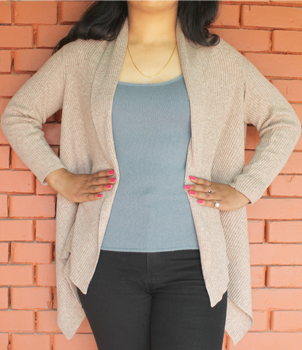 Cashmere Ribbed wide Cardigan