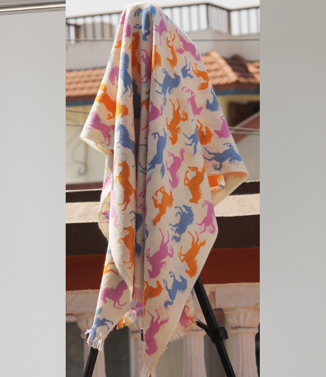 Horse Style Printed Shawl in Pink-Orange-Blue