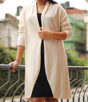 Cashmere Long cardigan in open design
