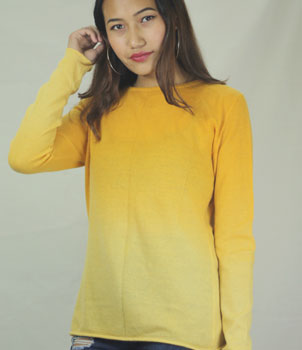Orange shaded crew neck cashmere jumper