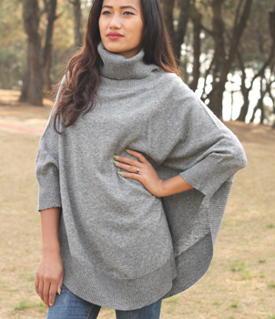 Oversize Roll Neck Jumper Poncho