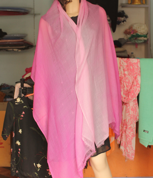 Pink and White shaded summer pashmina shawl
