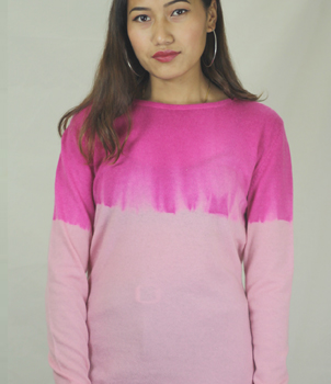 Crew Neck Summer Cashmere Sweater in Pink Shaded Colour