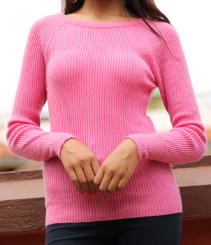 Round Neck Ladies Rib Sweater