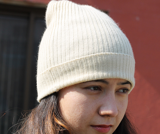 Unisex Cashmere Hat in RIB Knit