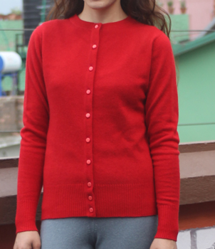Round Neck Cardigan in button Crew Neck