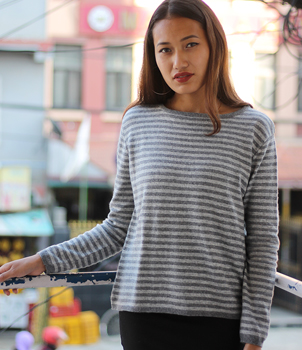 Dark Grey and Light Grey stripe cashmere sweater