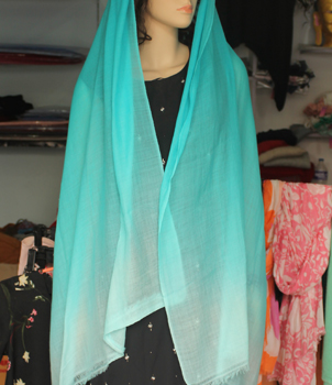 Turquoise and White shaded summer pashmina shawl