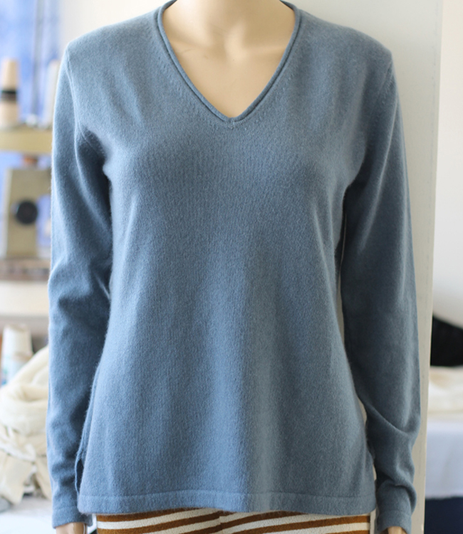 V Neck Sweater in Rolled neck with side cut