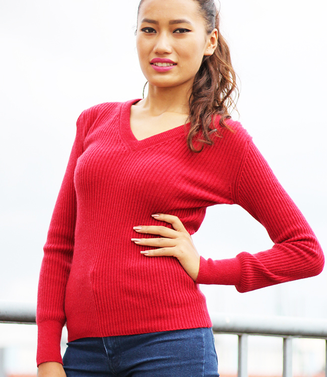 V Neck Ladies Rib Sweater